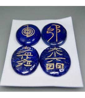 Conjunto cabujones de Lapislázuli grabados con los símbolos del Reiki