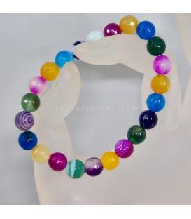 Agatas multicolor de 8 mm en alegre pulsera elastica