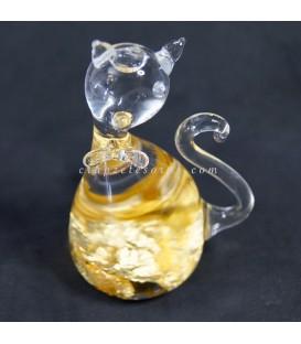 Oro de ley en láminas en gatito de cristal