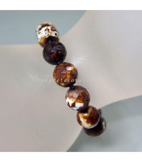 Ágatas café talla esferas en pulsera de plata de ley ajustable
