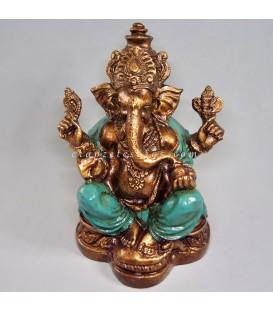 Brillante Ganesha de resina túnica verde