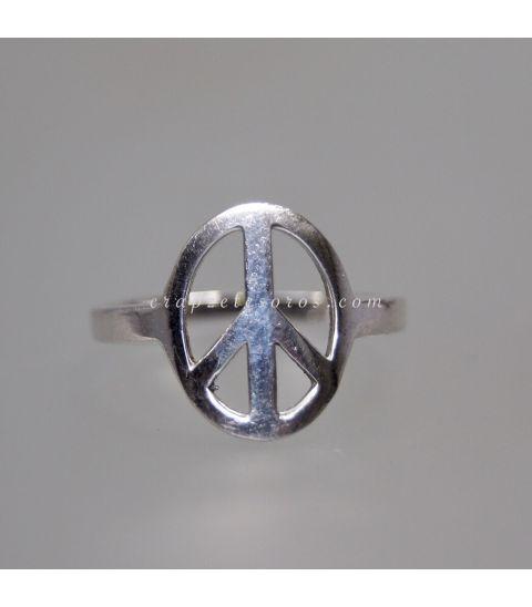 Signo de la paz en anillo realizado en plata de ley