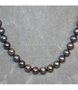 Perla negra cultivada en collar con cieres de plata de ley