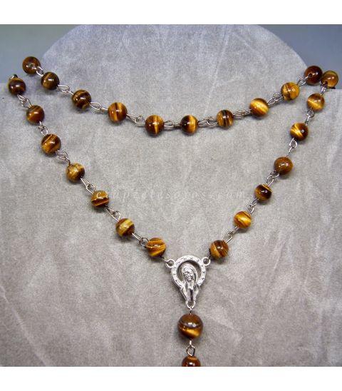 Ojo de tigre talla esferas en rosario de metal plateado