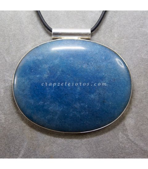 Impresionante Cuarzo azul en colgante de plata de ley