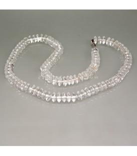 Cuarzo hialino talla disco en collar con cierres de plata de ley