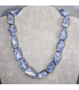 Sodalitas rodadas en collar con cierres de plata de ley