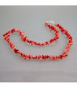 Coral Bambú rama en collar con cierres de plata de ley