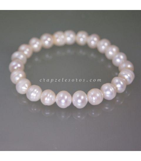 Perlas barrocas cultivadas de 9 mm en pulsera elástica