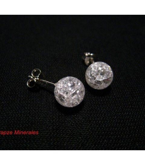 Pendientes Cuarzo bola y plata