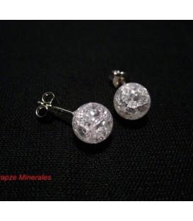 Cuarzo Cristal en pendientes de esferas y plata