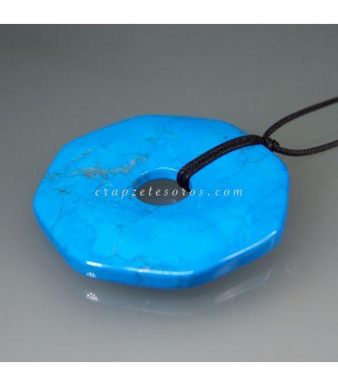 Howlita azul talla octógono plano para colgar