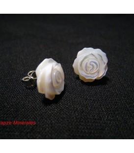 Pendientes Nacar flor y plata