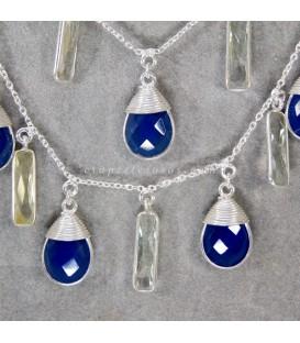 Amatistas verdes y Cuarzos azules en collar doble de plata de ley