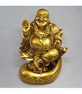 Buda Hotei de la felicidad y riqueza en resina dorada