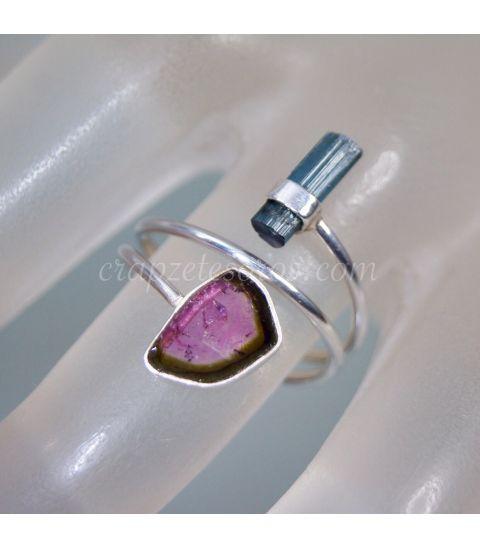 Turmalina sandía e Indigolita en anillo de plata de ley