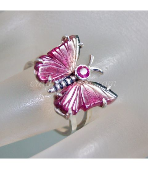 Turmalina sandía y Rubelita en anillo Mariposa de plata de ley