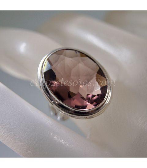Ametrino talla oval en anillo de plata de ley