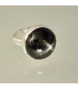 Blak Star o estrella negra en anillo de plata de ley