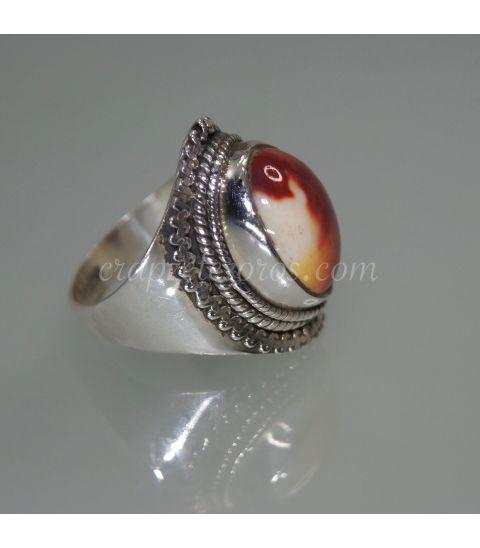 Jaspe Mokaita en anillo de plata de ley