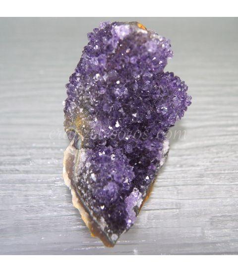 Pareja de geodas de Ágata, Amatista y Cuarzo hematoide