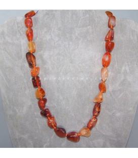 Carneola o Cornalina rodados en collar con cierre de reasa marinera de acero