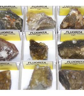 Fluorita amarilla cristalizada de Asturias en cajita