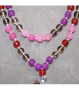 Cuarzo ahumado, carneola, amatista talla esfera de 8 mm en rosario mala