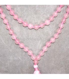 Rosario Mala de esferas 6,5 mm de Cuarzo rosa
