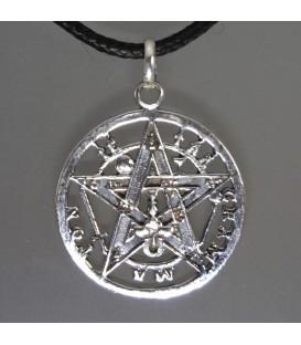 Pentagramatón o Tetragramatón en colgante de plata de ley