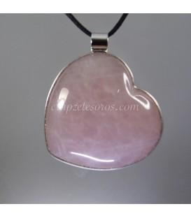 Espectacular Cuarzo rosa talla corazón en colgante de plata de ley