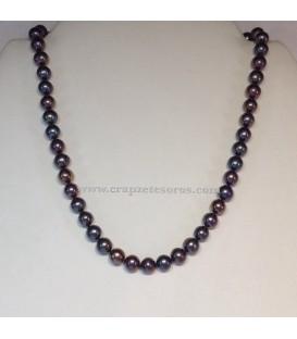 Collar de niña de perla negra natural y cierres de plata