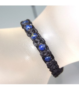 Esferas de 4 mm Lapislázuli en pulsera de macramé de algodón ajustable