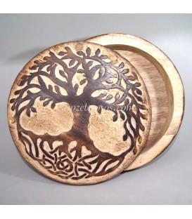 Árbol de la vida tallado en caja de madera artesana de Indonesia