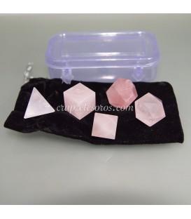 Conjunto poliédrico platónico de Cuarzo rosa