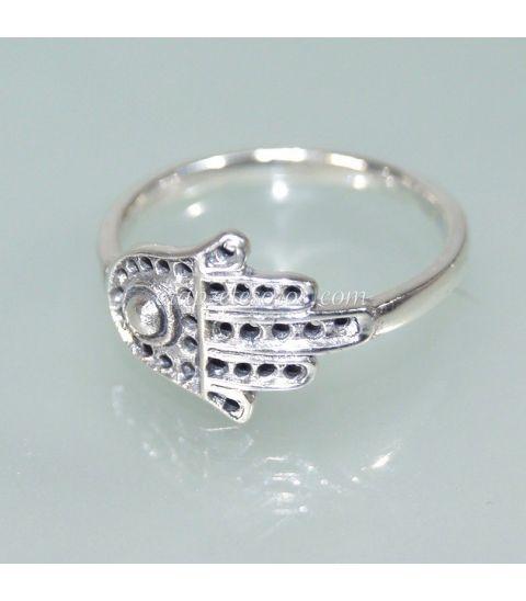 Mano de Fátima en anillo de plata de ley