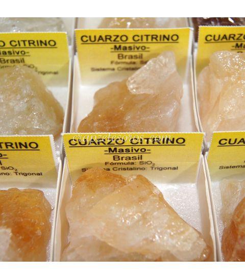 Cuarzo citrino masivo de Brasil en cajita individual