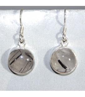 Pendientes de Cuarzo Turmalinado y plata