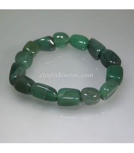 Aventurina verde en pulsera de rodados
