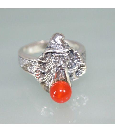 Carneola en anillo mago Merlín de plata de ley