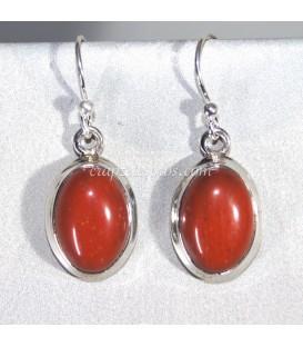 Pendientes de plata de ley con marcasitas y jaspe rojo