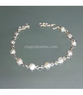 Perlas cultivadas en pulsera de plata de ley
