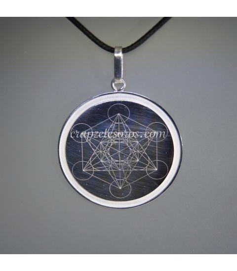 Símbolo del Arcángel Metatrón en colgante de plata de ley