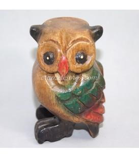 """Buho de madera policromada que """" canta """""""
