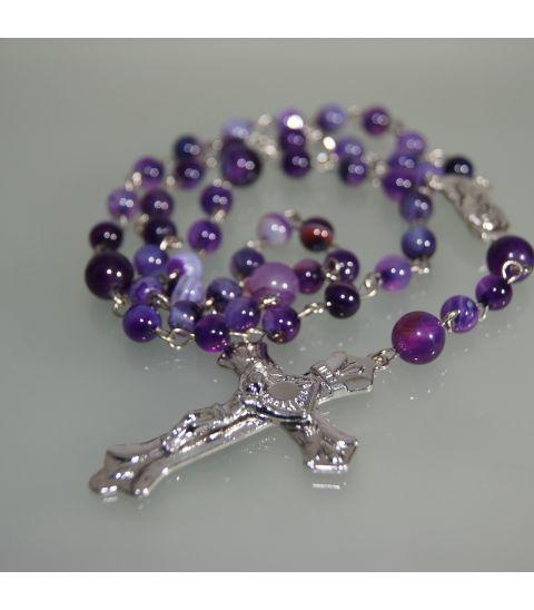 Agata Lila en rosario de esferas y metal