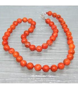 Coral Manzana de Indonesia en collar de esferas de 8 mm y plata de ley