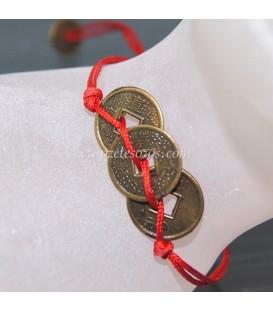 Pulsera tres monedas chinas talisman de la suerte