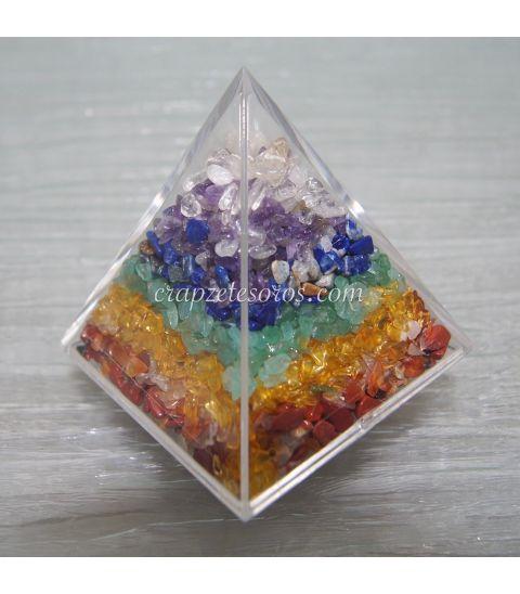 Minerales chakras en pirámide Orgonites y cobre
