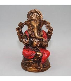 Ganesha de resina policromía roja de Indonesia.