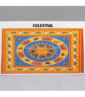 OM estampado en bello y cromático tapiz NARANJA de algodón de la India